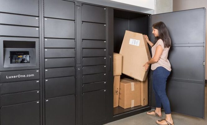Apartment Package Lockers Demonstration of Large Package