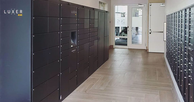 example of complex's apartment package lockers