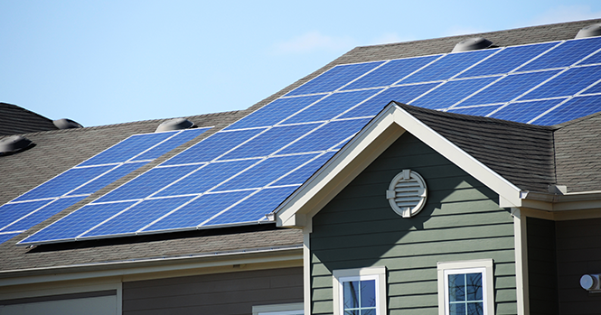 solar panels on apartment complex roof
